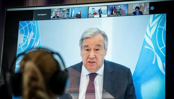António Guterres volvió a insistir en la solidaridad en la vacunación contra la COVID-19 y para denunciar que el mundo está fracasando en este ámbito. (AFP)