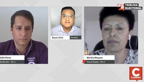 Rodolfo Pérez, del Partido Morado, y Martha Moyano, de Fuerza Popular en Tribuna Electoral de diario Correo.   Foto: Captura de pantalla.
