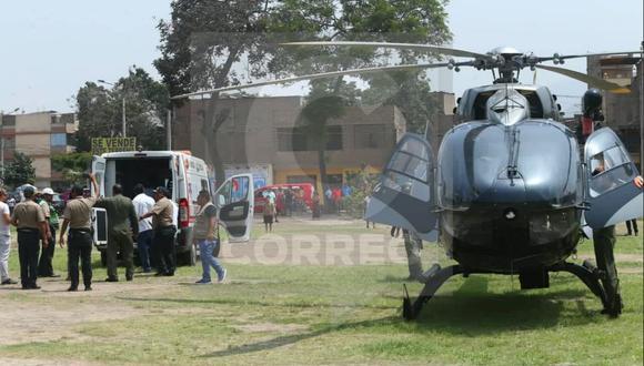 Comas: policía herido fue trasladado a hospital de la PNP en helicóptero