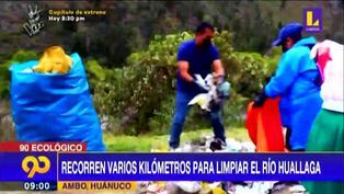Pobladores recorren varios kilómetros para limpiar río Huallaga