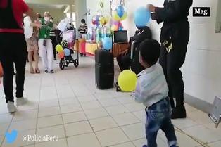 Policía Nacional realiza fiesta sorpresa a menor que sufrió agresión física