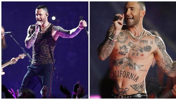Adam Levine se quitó el polo durante la presentación de Maroon 5 en el Super Bowl