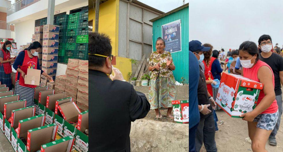 Padre y voluntarios arman 10 mil canastas para los más necesitados de Lima Sur, desde SJM hasta Pucusana   Foto: Composición con imágenes de Facebook de Asociación de las Bienaventuranzas