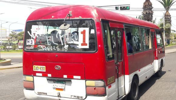 Transportistas urbanos ratificaron la medida para este jueves 18 de marzo. (Foto: Adrian Apaza)