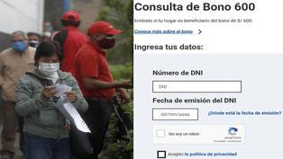 Bono 600 soles: verifica si eres beneficiario de este subsidio económico