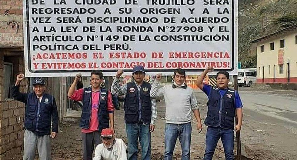 Ronderos impiden ingreso de trujillanos a Huamachuco por el coronavirus