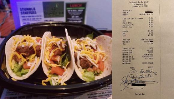 Cuando el dueño del local vio la nota, no podía creerlo e incluso pensó que el cliente se había equivocado.  (Facebook/Michael Zarella)