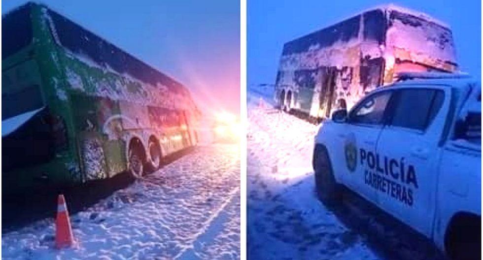 Bus se despista en la ruta Arequipa - Cusco debido a intensa nevada