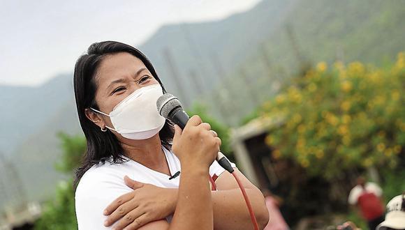 Se desmarca. Keiko Fujimori recalcó que su partido no tiene nada que ver con los paneles en contra de la candidatura de Pedro Castillo. (Foto: GEC)