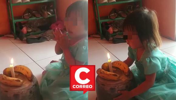 Un video viral muestra que aunque sus papás no tenían para comprarle un pastel más apropiado, una niña fue la más feliz festejando su cumpleaños con lo que la improvisada torta que le obsequiaron. | Crédito: @warung_jurnalis / Instagram