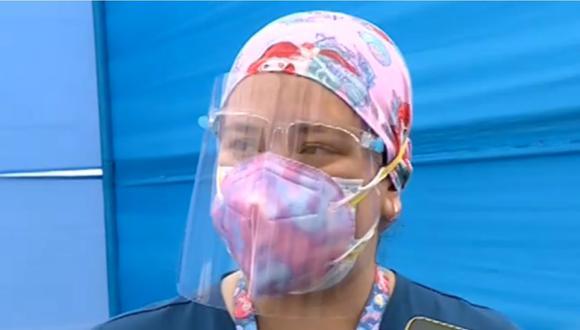 Médica embarazada tras recibir la vacuna contra la COVID-19. | Foto: Captura de pantalla de Canal N.
