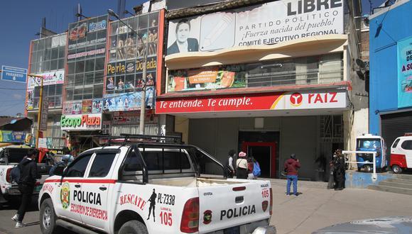 Local fue allanado este último sábado en Huancayo   FOTO: Caleb Mendoza/@photo.gec