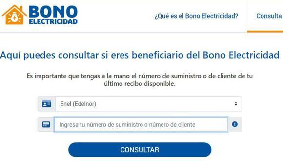 Los usuarios del servicio eléctrico a nivel nacional ya pueden consultar si son beneficiarios del Bono Electricidad.