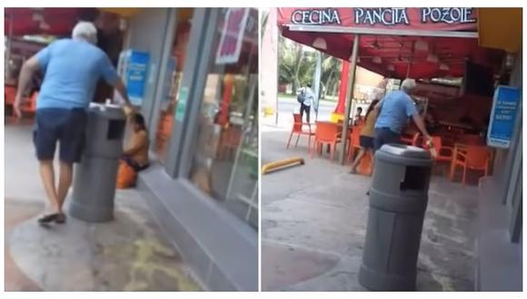 Captan a sujeto arrojando ácido junto a niña (VIDEO)