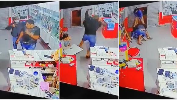 Un hombre que se encontraba en el local, durante el asalto, se enfrentó a uno de los delincuentes, pero terminó siendo golpeado.