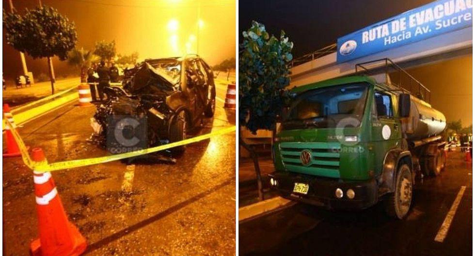 Dos muertos tras choque entre auto y cisterna municipal en Costa Verde (VIDEO)