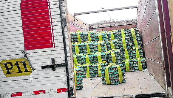 PNP recupera 550 paquetes de huevos