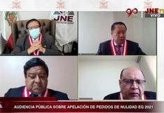 EN VIVO retoma audiencia pública del JNE sobre anulación de pedidos de nulidad