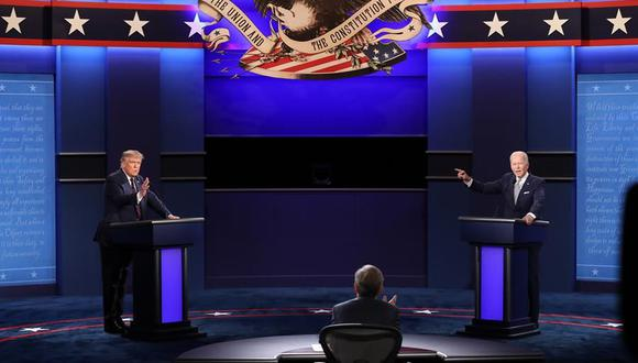 Donald Trump y Joe Biden sostuvieron un agrio debate en Cleveland. (EFE/EPA/JIM LO SCALZO).