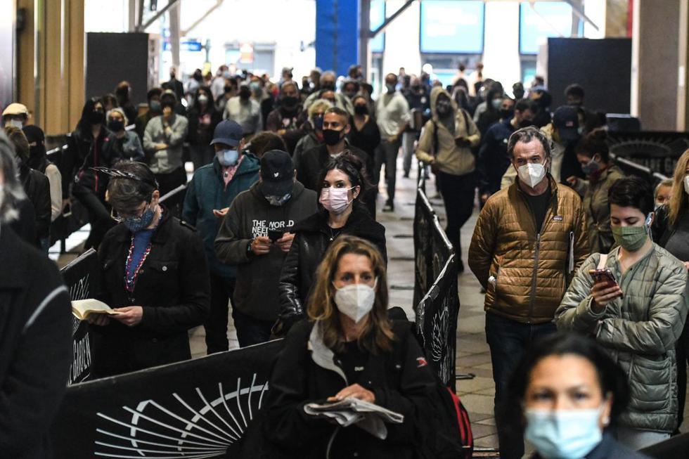 Debido a las preocupaciones por el coronavirus y el distanciamiento social, el estado de Nueva York está permitiendo la votación anticipada por primera vez. (Stephanie Keith/Getty Images/AFP).