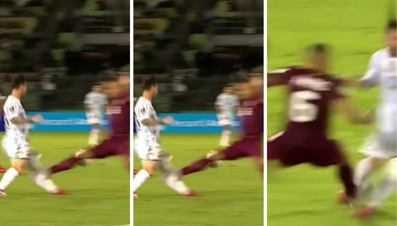 Lionel Messi se quedó paralizado por el dolor de la patada y Martínez fue expulsado tras revisión del VAR. (Foto: Captura )