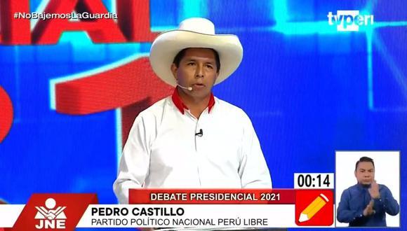 """""""Vamos a llevar a los delincuentes a construir puentes, hospitales, deben reparar su daño a la población"""", señaló Castillo. (Foto: Captura TV Perú)"""