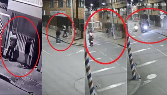 Momento en que delincuentes robaron a ladrones en un barrio colombiano. | Foto: Captura de pantalla de Alejandra Bolaños.