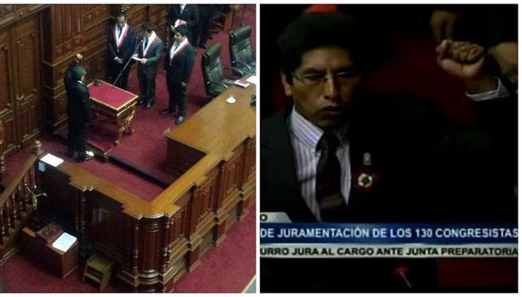 Congresistas Cevallos y Curro reciben pifias por juramentar con el puño en alto