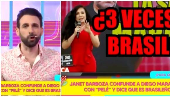 Rodrigo González se burla de Janet Barboza por su error sobre Maradona. (Fotos: Willax TV / América TV)