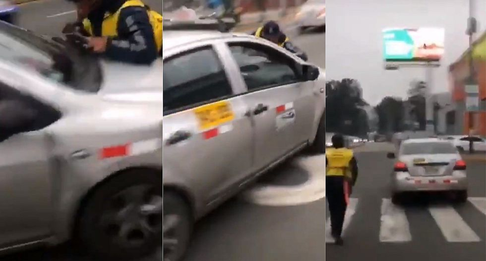 Conductor intenta darse a la fuga con inspector municipal encima de su vehículo (VIDEO)