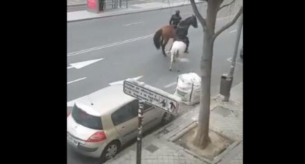 La Policía Nacional ha compartido en redes sociales un vídeo que patrullaba las calles de Madrid a caballo. (Twitter).