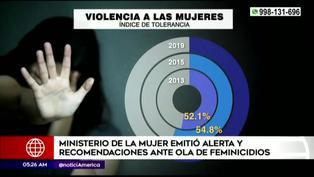 Ministerio de la Mujer informó sobre el incremento de casos de feminicidios en el país