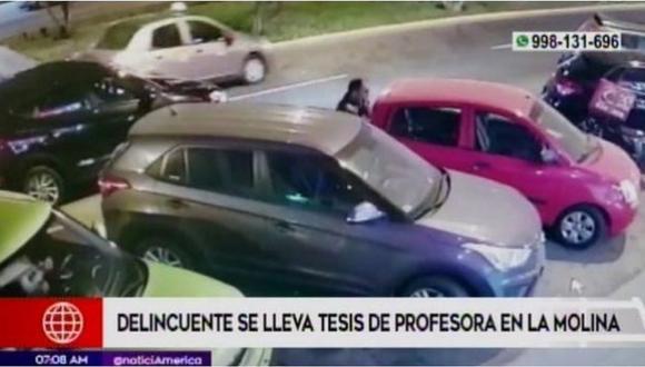 Ladrón ingresa a un auto y se roba laptop con tesis de una profesora