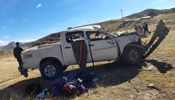 El vehículo quedó maltratado en la pampa de Cabanillas.