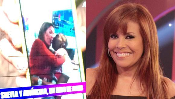 Magaly Medina mostró hoy lunes la relación que existió entre Sheyla Rojas y Luis Advíncula. FOTO: Captura