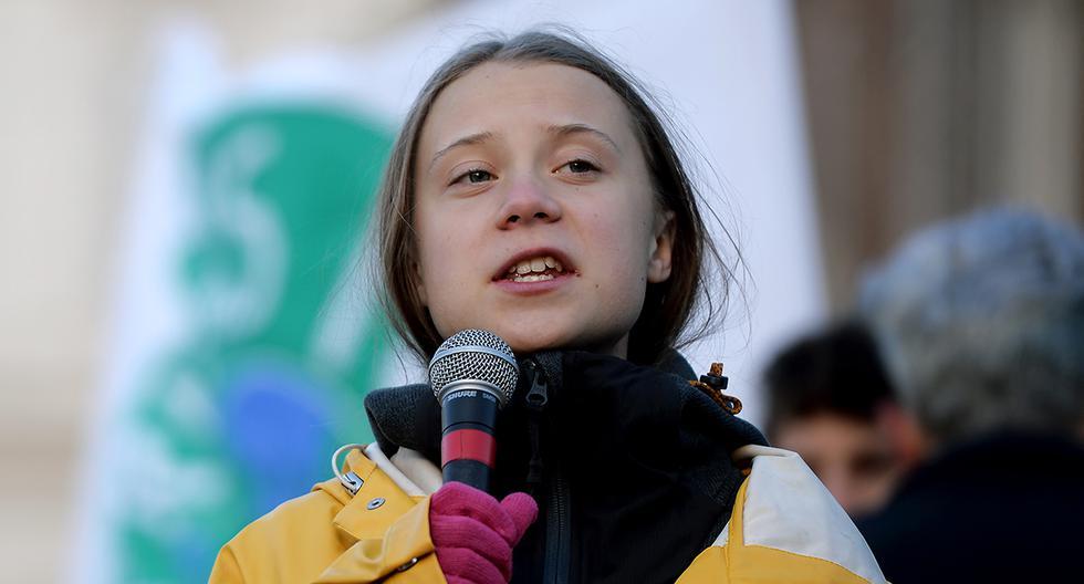 La activista climática sueca Greta Thunberg durante un discurso sobre el clima, en Turín. (AFP).