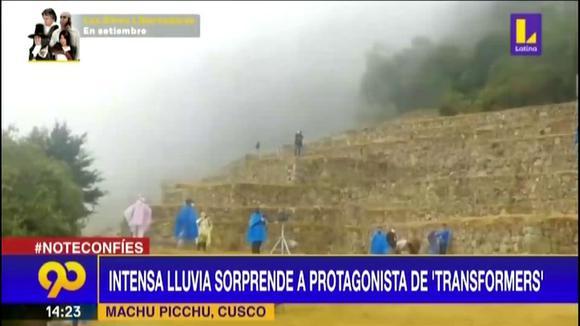 Machu Picchu: Intensa lluvia sorprende a protagonista de 'Transformers'