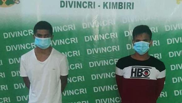 Cusco: Agentes de la Divincri Vraem - Kimbiri detuvieron a Jhon Wilber Borda Chávez (20) y Alex Pérez de la Cruz (19), a quienes se les sindica como presuntos autores del crimen de Joner Rodríguez Vargas (27) al interior de una discoteca. (Foto PNP)