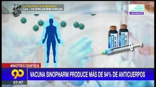 Vacuna Sinopharm produce más de 94% de anticuerpos contra la COVID-19