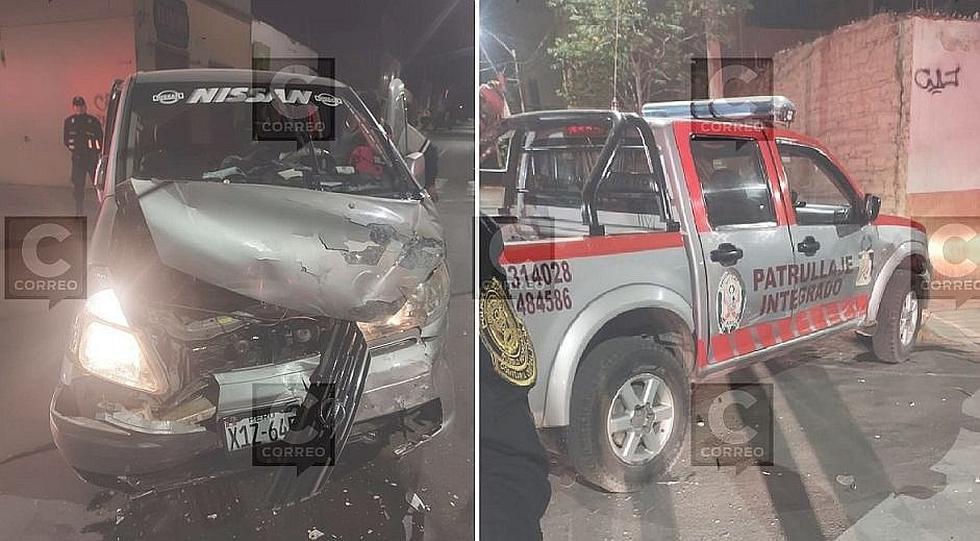 Choque de camioneta del serenazgo de la MPT deja dos heridos en la madrugada