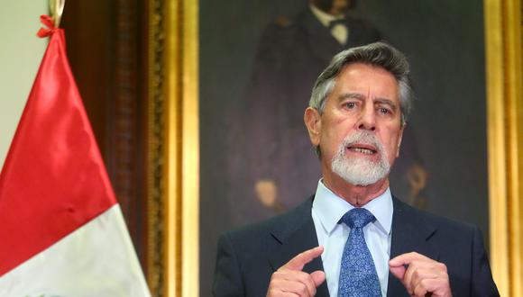 Francisco Sagasti, presidente del Perú dando un mensaje a la Nación. (Foto: Presidencia)
