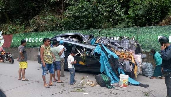 Familia muere aplastada por rocas en carretera a Tingo María Foto: Cortesía