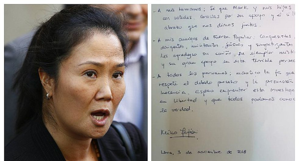 """Keiko Fujimori desde la prisión: """"Audiencia se convirtió en ataques políticos"""""""