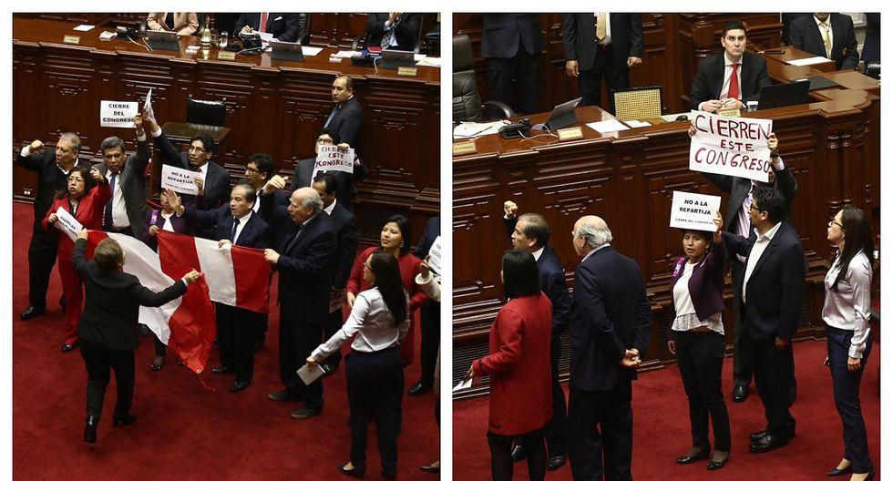 Luz Salgado mostró bandera peruana durante protestas en el Congreso (VIDEO)