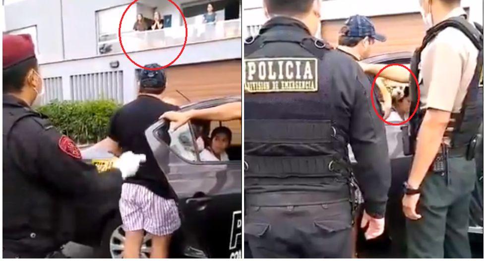 Hombre es detenido por pasear a su perro en Miraflores durante cuarentena. (Foto: Twitter)