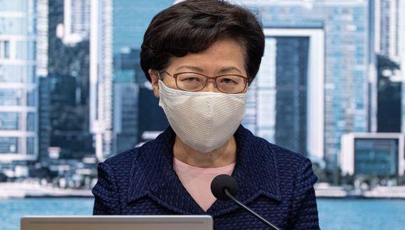 La presidenta ejecutiva de Hong Kong, Carrie Lam, habla durante una conferencia de prensa en Hong Kong, China, el 31 de julio de 2020. (EFE/JEROME FAVRE).