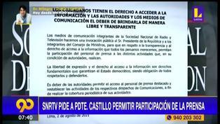 Sociedad Nacional de Radio y Televisión pide a Pedro Castillo permitir participación de la prensa (VIDEO)