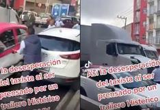 La reacción de un taxista tras ser presionado por un tráiler en México (VIDEO)