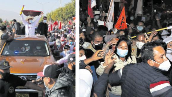 Mientras que militantes de Perú Libre no respetaron las normas.  Postulantes generaron el desorden durante su llegada a la ciudad. (Foto: Correo)