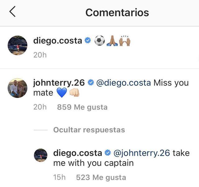 Diego Costa le pide a John Terry que lo fiche en Aston Villa. (Foto: Instagram)